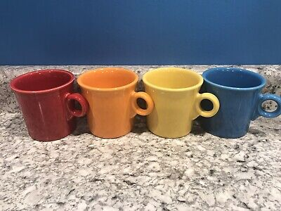 Fiesta Ring Handled Mugs Lot Set of 4 Mixed Colors Excellent Retired Fiestaware