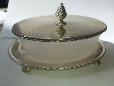 1867 Victorian Silver & Glass Butter Dish   Sheffield Fenton Brothers