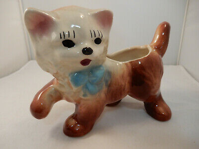 Vintage Kitten Planter with Blue Bow