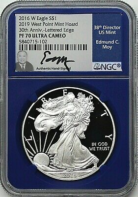 2016 W $1 Proof Silver Eagle 2019 West Point Mint Hoard NGC PF70 UCAM Moy Signed