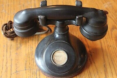 Western Electric 1920's Art Deco Black B1 No Dial Telephone & E1 Handset Vintage