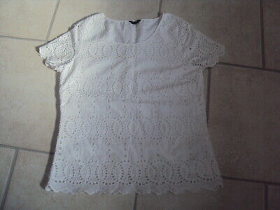 Marks & Spencer (M&S) Autograph White Cotton Short Sleeve Blouse, Size 12