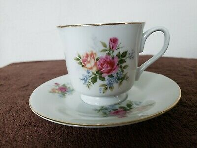 Vtg Made in Japan Pink Yellow Roses & Blue Floral Cup & Saucer Set Gold Trim