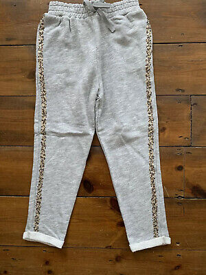 Girls NEXT Joggers Age 6 Years Grey Sequin Side Stripe Elasticated Waist