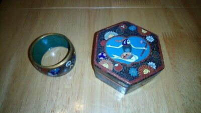 japanese antique cloisonne trinket box and ring