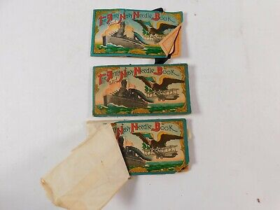 """Vtg Lot of 3 """"The Army and Navy Needle Book"""" Battleship Bi-Plane Occupied Japan"""