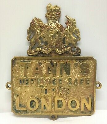 Rare Original Tann's, London Solid Brass Safe Plaque