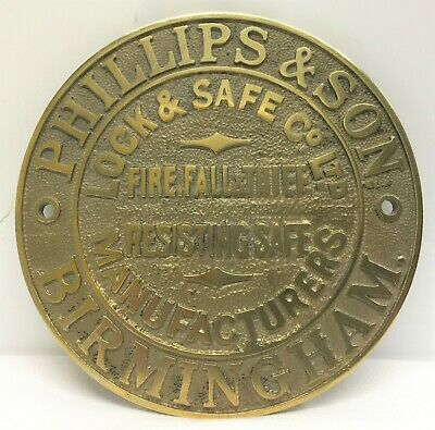 Rare Original Phillips & Son, Birmingham Solid Brass Safe Plaque