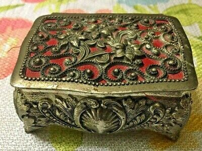 Vintage Miniature Metal Footed Jewelry Box Made In Japan