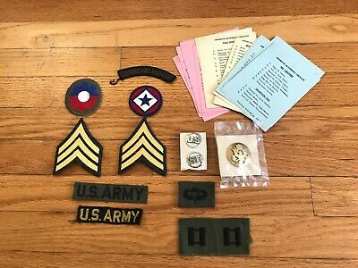 US Army Cold War/ Vietnam Era Unifrom Patches, Badges, And PMCS Cards 9th ID