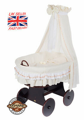 Wicker Crib Moses Basket Lulu TRE CREAM (Cot Bed) with Snuggle Pod!MJMARK *