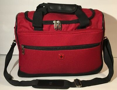 Swiss Gear Army Wenger Carry On Red Duffel Bag Weekend Tote Gym Camping