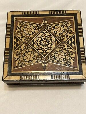 Wooden Inlaid Hinged Lid Jewelry /Trinket Box
