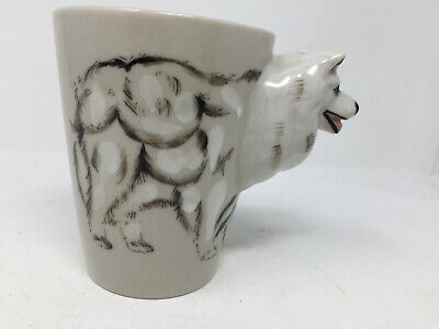Wolf Dog Coffee Mug With 3D Head Handle by llomee Large 3D Design