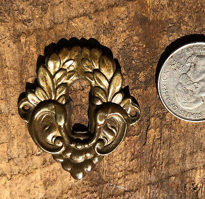 Antique Victorian Stamped Brass Key Hole Cover ~ Ornate Fancy Keyhole Cover