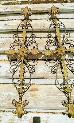 Pair of Large Decorative Metal Scroll Hanging Wall Entryway Decor