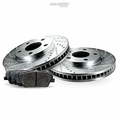 Rear Drilled Slotted Brake Rotors and Ceramic Pads For 2012-2014 Ford Mustang