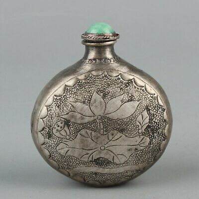 Chinese Exquisite Handmade lotus fish Silver snuff bottle