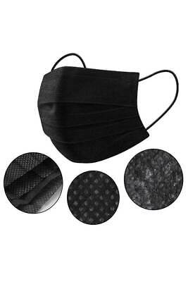 Cool Savag Black 3 layer Face Mask Disposable 3 Ply Earloop Mouth Cover 10 pack