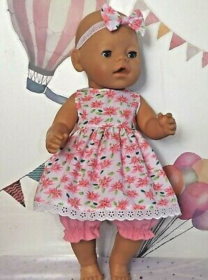 "Dolls Clothes to fit 17"" Baby Pink & White Floral Top and Bloomers"