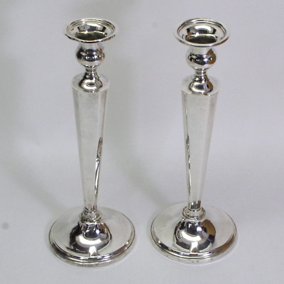 """Vintage Sterling Silver Candlesticks Pair - Weighted  10"""" Tall c1940s-50s"""