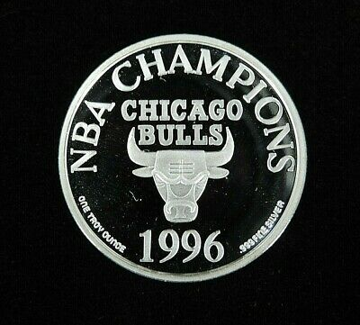1996 1 oz Silver Art Round Chicago Bulls Four-Time NBA Champions .999 Fine Ag