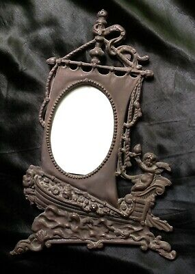 Unusual Antique Ornate Bronze Boat Sail Cherub Angel Victorian Frame Spanish