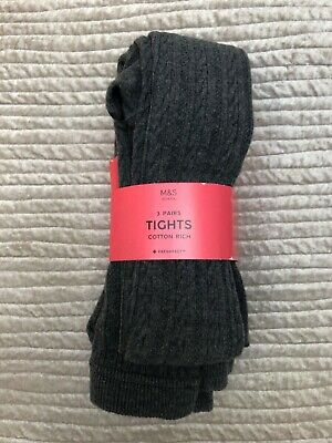 Girls M&S Soft Cotton Rich Tights Age 11-12Years 6 pairs