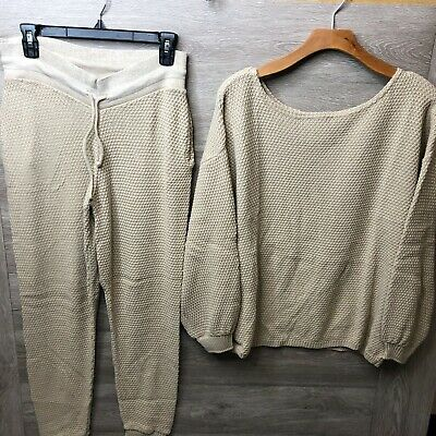 Nasty Gal Womens Medium Knit Happens Sweater and Jogger Set Oatmeal NEW