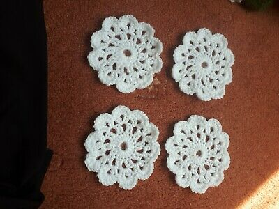 Handmade crochet coasters, set of 4,white, perfect addition to any table