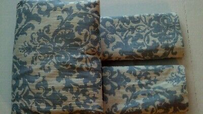 Pottery Barn Jacquard Medallion Full Queen Duvet & 2 Std Shams Riviera Blue New