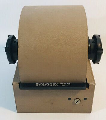 Vintage Rolodex 2254D Brown Metal Roll Top Rotary Organizer Index File w/ Cards