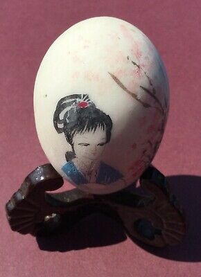 Vintage Painted Chinese Marble Alabaster Egg with Chinese Girl on (with Stand)