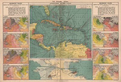 PANAMA CANAL approaches. Isochronic charts before/after opening. Colon 1918 map