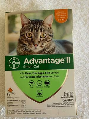 Bayer Advantage II Flea and Tick Treatment for Small Cat 5-9 lbs - Pack of 6