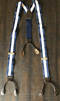 Paul Stuart Braces/Suspenders Navy Pink White W/ Brown Leather Made In England