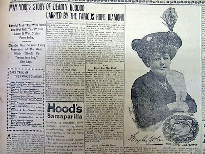 1911 newspaper w photo & long tragic HISTORY of the owners of THE HOPE DIAMOND