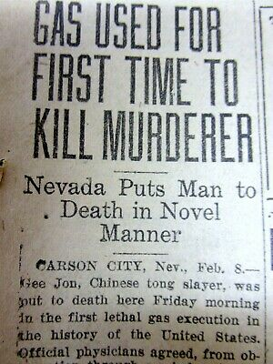 1924 newspaper 1st EXECUTION of MURDERER by THE GAS CHAMBER (Carson City NEVADA)