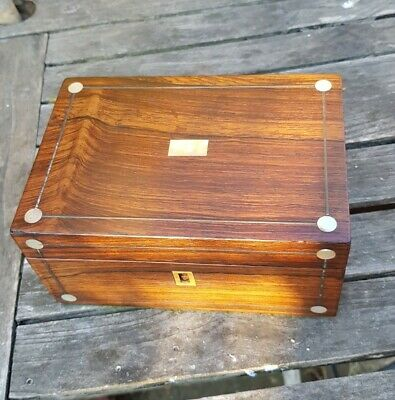 Victorian Rosewood And Mother Of Pearl Box With Re-lined Interior