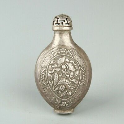 Chinese Exquisite Handmade silver Snuff Bottle