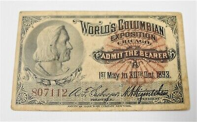 1863 WORLD'S COLUMBIAN EXPOSITION Chicago Day Ticket