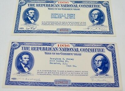 1936 Republican National Party Committee Participation  Certificates