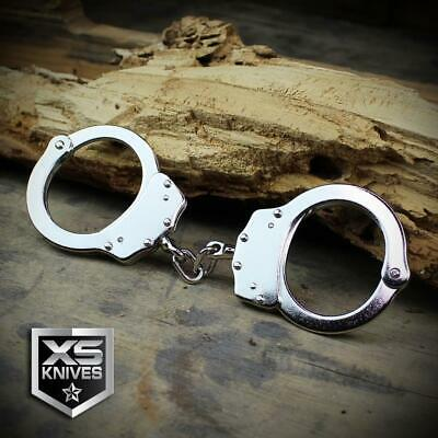 POLICE Handcuffs Professional NICKEL PLATED Double Lock REAL HandCuffs w/Keys