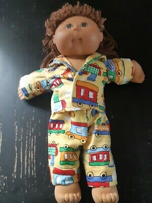 Homemade Cabbage Patch Doll Yellow with Trains Pyjama Set