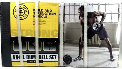 New GOLDS GYM 40lb Vinyl Dumbbell Set Weights Adjustable- SHIPS TODAY