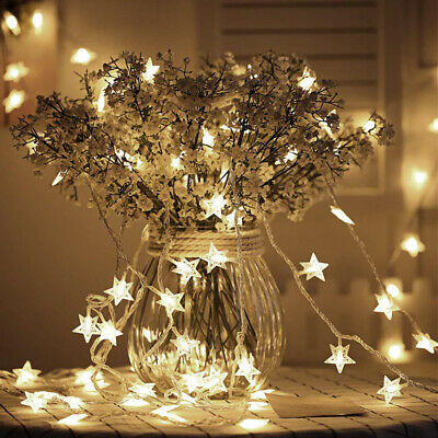 Christmas Tree Hanging LED Light Lamp Star Fairy String Wedding Home Party Decor