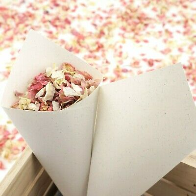 Handcrafted Recycled Ivory Fleck Wedding Confetti Cones Sample, Sets of 10 - 100