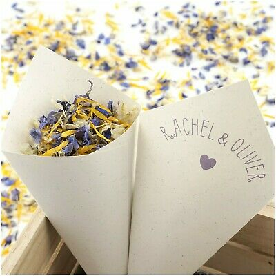 Personalised Handcrafted Cute Heart Wedding Confetti Cones 100% Recycled