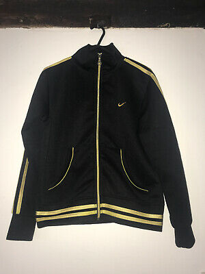 Nike Girls Black/ Gold Tracksuit Top & Bottoms  Size Small Limited Edition