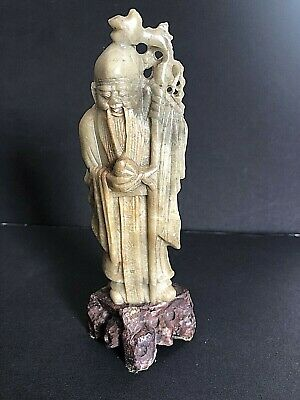 Antique Chinese Oriental Shoushan Hand Carved Stone Statue
